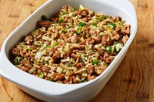 мясо с рисом в духовке