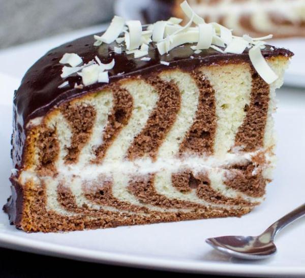пирог зебра рецепт с фото на сметане