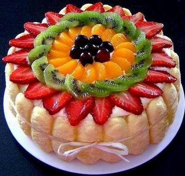 Как украсить торт в домашних условиях фруктами фото
