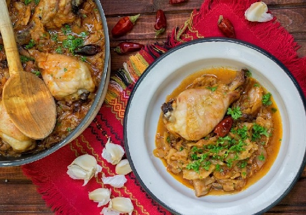 Рецепт курицы с капустой в духовке