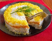Рецепт салата мимоза классический с консервой рыбной