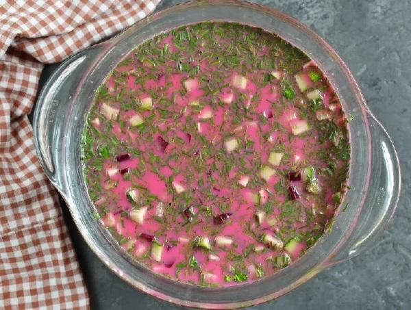 Свекольник холодный рецепт классический с колбасой