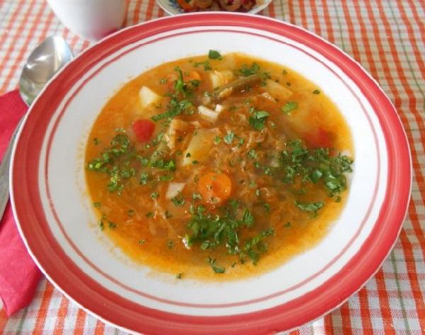 Суп постный с квашеной капустой