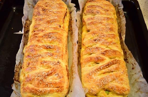 Пирог слоеное тесто курица сыр