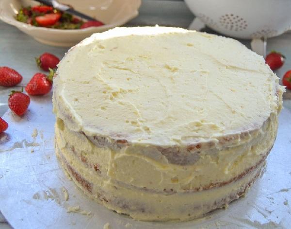 Творожно бисквитный торт с клубникой рецепт