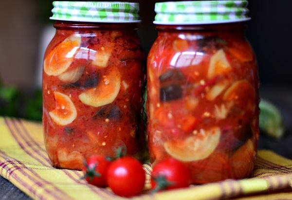 Салат из кабачков баклажанов и помидоров на зиму
