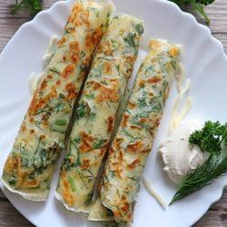 Блины с сыром и зеленью рецепт