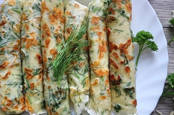 Блины с начинкой из сыра и зелени