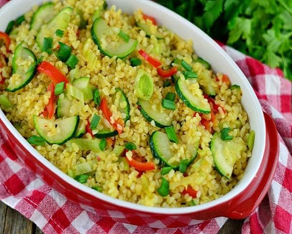 Булгур с овощами рецепт на сковороде